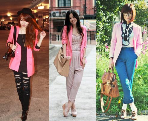 Blazer cor-de-rosa com calça