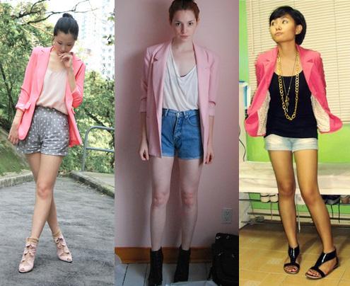 Blazer cor-de-rosa com shorts