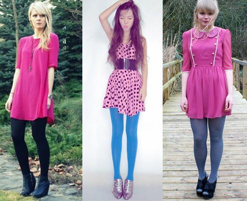 Como usar vestido rosa com meia-calça