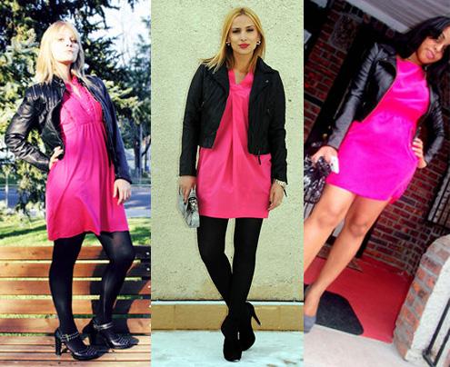 Como usar vestido rosa com jaqueta preta