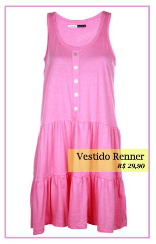 Vestido cor de rosa Renner
