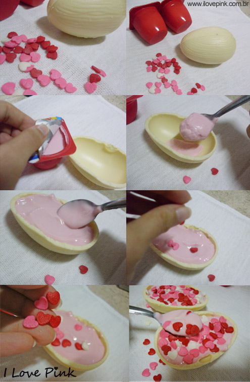 I Love Pink - Sobremesa para Páscoa com ovo de páscoa branco e danoninho
