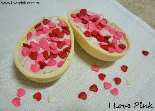 I Love Pink - sobremesa pra páscoa - ovo de páscoa chocolate branco com recheio de danoninho