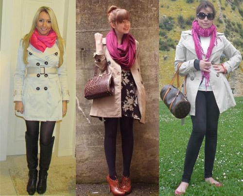 I Love Pink - como usar cachecol rosa com trench coat