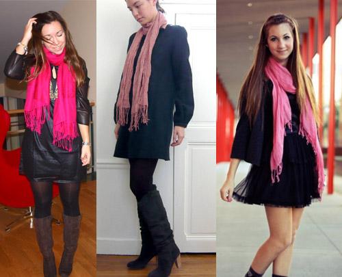 I Love Pink - como usar cachecol rosa com vestido
