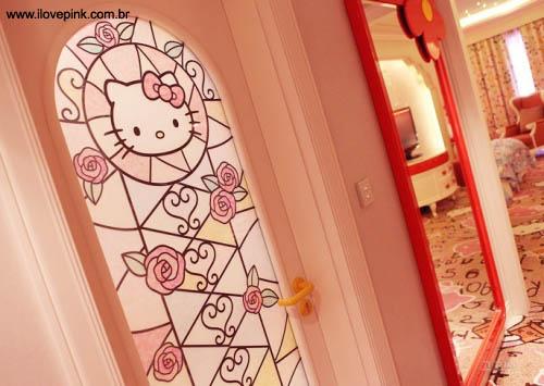 Decoração do quarto da Hello Kitty no Lotte Hotel Jeju