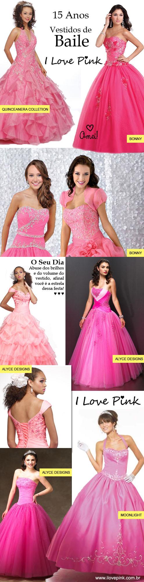 Vestidos cor de rosa de festa de 15 anos