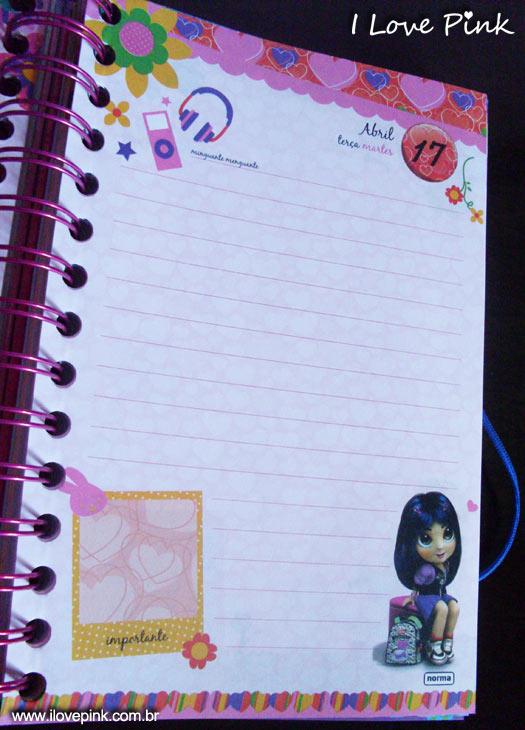 Agenda cor de rosa 2012: Bonequinhas