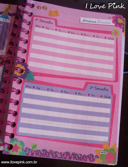 Agenda cor de rosa 2012: Bonequinhas - horário de aulas