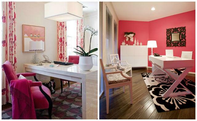 Como decorar escritório rosa