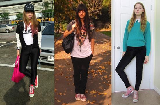 Como usar tênis All Star Converse rosa com calça preta