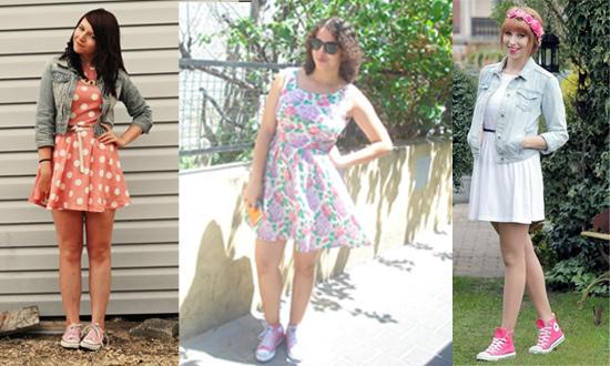 Como usar tênis All Star Converse rosa com vestido