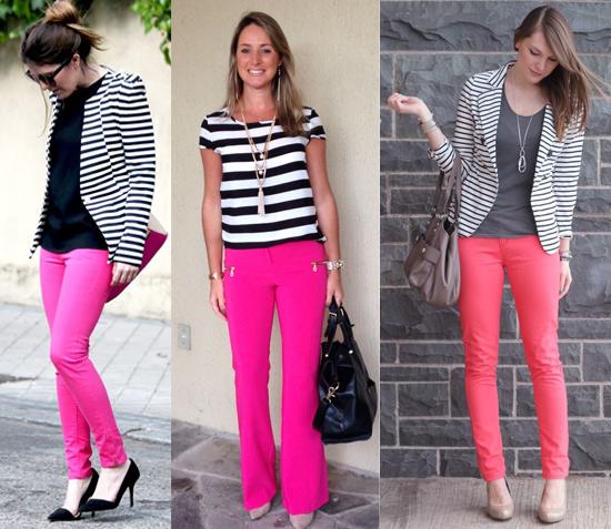 Como usar calça rosa com listras