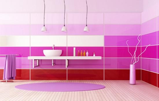 decoração de banheiro cor de rosa