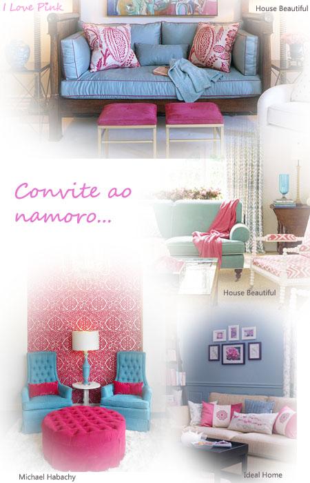 Decoração de salas cor-de-rosa e azul