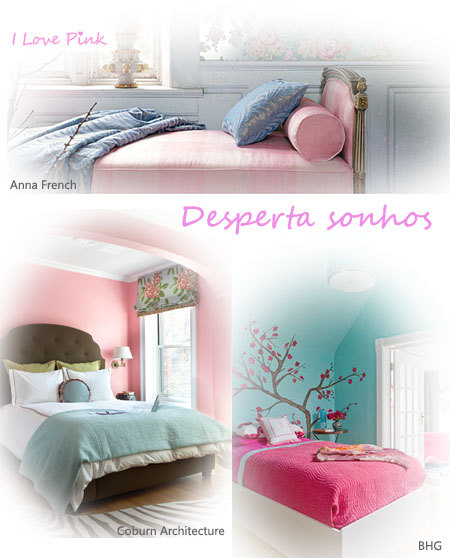 Decoração de quartos cor-de-rosa e azul