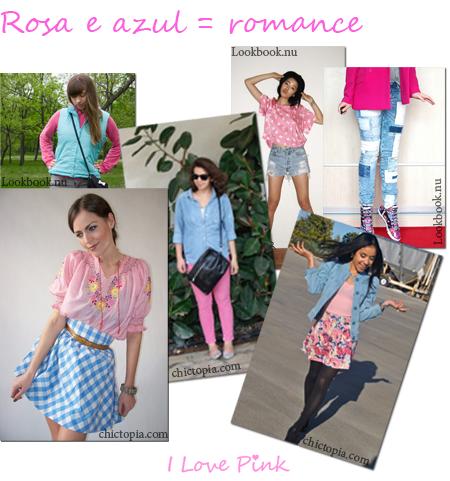Combinações Moda Cor-de-Rosa e Azul