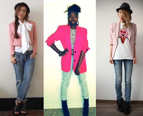 Blazer cor-de-rosa com calça jeans