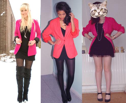 Blazer cor-de-rosa com vestido preto