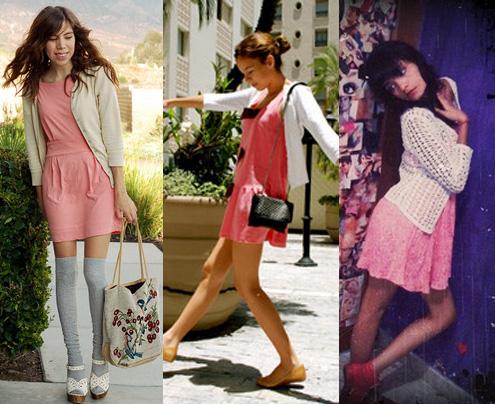 Como usar vestido rosa com casaquinho branco