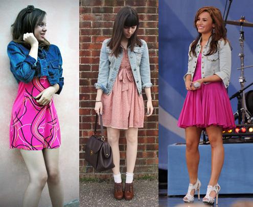 Como usar vestido rosa com jaqueta jeans