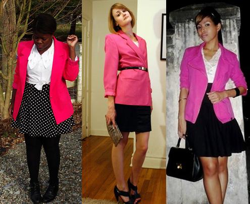 Blazer cor-de-rosa com saia
