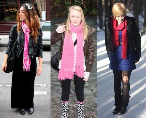 I Love Pink - como usar cachecol rosa com jaqueta de couro