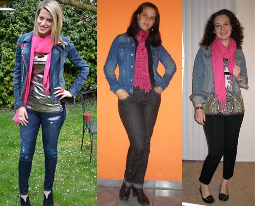 I Love Pink - como usar cachecol rosa com jaqueta jeans
