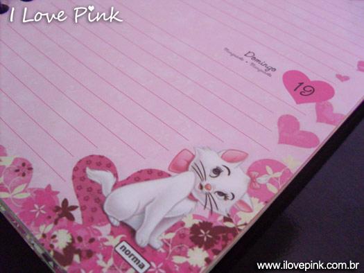 Agenda Cor de Rosa 2012: Marie (Norma) - pagina com a gatinha