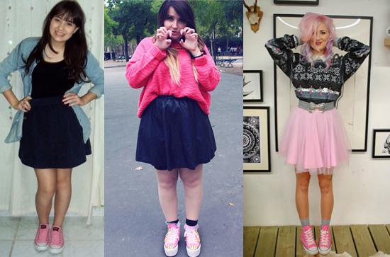 Como usar tênis All Star Converse rosa com saia