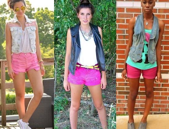 Como usar shorts rosa com colete
