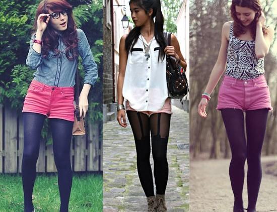 Como usar shorts rosa com meia-calça preta