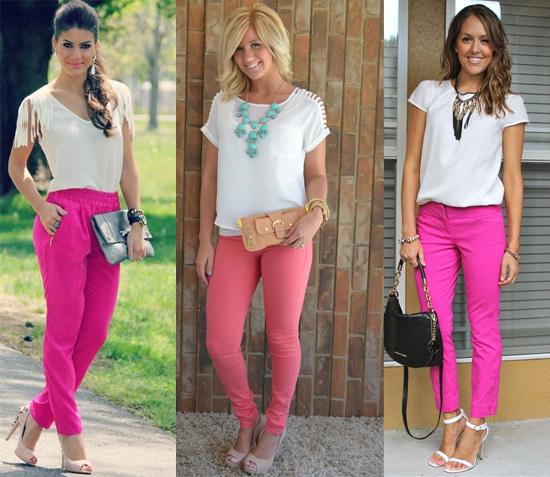 como usar calça rosa com blusa branca