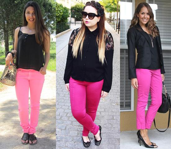 como usar calça rosa com blusa preta