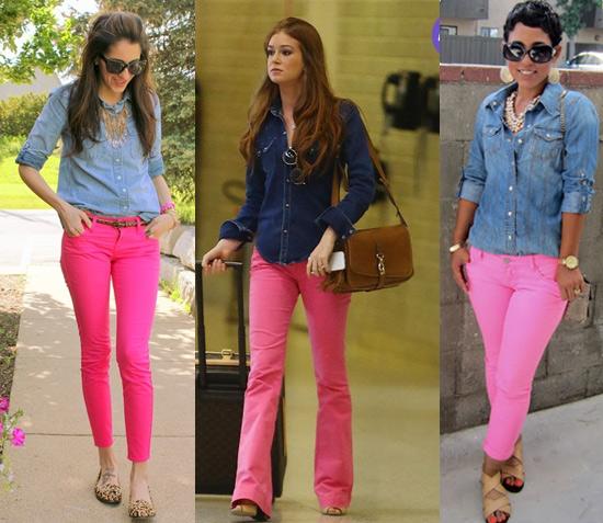 como usar calça rosa com camisa jeans
