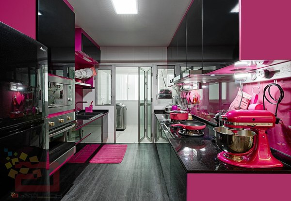 Cozinha pink e preta