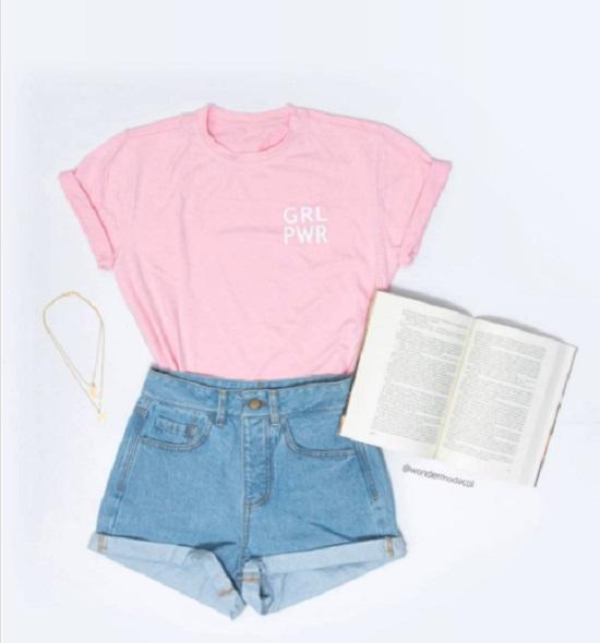 Como usar camiseta cor-de-rosa